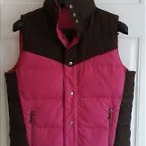 Viva Juicy Couture Fuchsia Brown Puffer Snap Vest